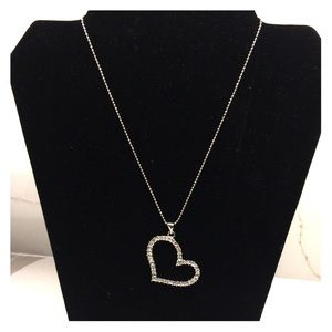 Silver Plated Rhinestone Heart Necklace